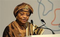 <p>President of Liberia, Ellen Johnson-Sirleaf speaks at the Global Alliance for Vaccines and Immunisation (GAVI) conference in London June 13, 2011. REUTERS/Paul Hackett</p>