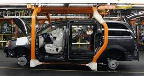 <p>A partially assembled Chrysler minivan works its way down the assembly line during the production launch of the new 2011 Dodge Grand Caravan's and Chrysler Town & Country minivans at the Windsor Assembly Plant in Windsor, Ontario January 18, 2011. REUTERS/Rebecca Cook</p>