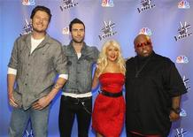 """<p>Singers (L-R) Blake Shelton, Adam Levine, Christina Aguilera and Cee Lo Green pose during a media event for the upcoming television series """"The Voice"""" in Los Angeles March 15, 2011. REUTERS/Mario Anzuoni</p>"""