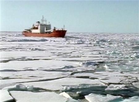 The Russian research vessel the Akademik Fyodorov with miniature submarines on board sails in the Arctic Ocean in this Reuters Television image taken from a television broadcast August 2, 2007. REUTERS/Reuters Television