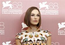 """<p>Actress Keira Knightley poses during a photocall for her film """"A Dangerous Method"""" which is in competition at the 68th Venice Film Festival September 2, 2011. REUTERS/Alessandro Bianchi</p>"""