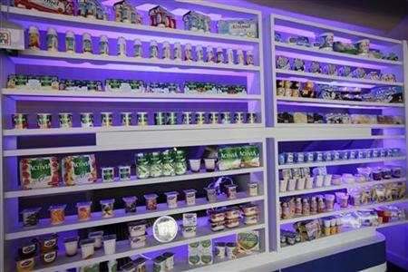General view inside the exhibition to mark the 90th anniversary of the French foods company Danone which is best known for it's yoghurt, in Paris April 2, 2009. REUTERS/Jacky Naegelen
