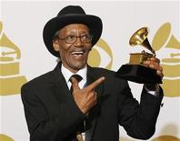 """<p>Willie 'Big Eyes' Smith poses with his award for Best Traditional Blues Album for """"Joined At The Hip"""" backstage at the 53rd annual Grammy Awards in Los Angeles, California February 13, 2011. REUTERS/Mario Anzuoni</p>"""