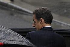 <p>France's President Nicolas Sarkozy enters his car as he leaves the maternity clinic, Clinique de la Muette, in Paris, October 19, 2011. French media reports that his wife Carla Bruni-Sarkozy is at the clinic. REUTERS/Gonzalo Fuentes</p>