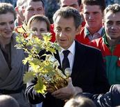 <p>France's President Nicolas Sarkozy (C) receives an oak, as a gift after the birth of his daughter, during a visit at a recycling factory near Laval, western France, October 20, 2011. REUTERS/Remy de la Mauviniere/Pool</p>