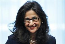 <p>International Monetary Fund (IMF) Deputy Managing Director Nemat Shafik smiles during an eurozone finance ministers meeting at the EU Council in Brussels May 16, 2011. REUTERS/Francois Lenoir</p>