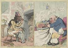 <p>A hand-colored etching entitled 'French Liberty, British Slavery' by James Gillray (British, 1756-1815). REUTERS/The Metropolitan Museum of Art, Gift of Adele S. Gollin</p>