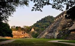 <p>A general view shows the exterior of the tomb of a Mayan ruler at the ruins of the Mayan city of Palenque in the hills of the southern Mexican state of Chiapas in this undated handout photo by the National Institute of Anthropology and History (INAH) released June 23, 2011. REUTERS/INAH/Handout</p>