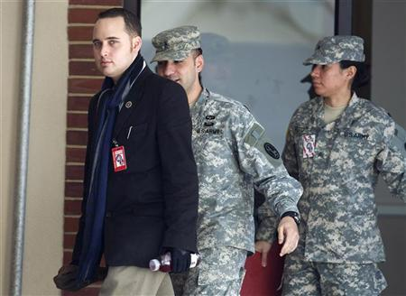 Adrian Lamo, a former computer hacker who informed authorities about Army Private First Class Bradley Manning, departs from a military Magistrate Court facility where Manning's Article 32 hearing is being held at Fort Meade, Maryland December 20, 2011. Manning was a U.S. Army intelligence analyst in Iraq when he is alleged to have illegally downloaded massive data files from the military's classified network and became a source for anti-secrecy website WikiLeaks. REUTERS/Joshua Roberts