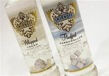 <p>Bottles of Diageo's Smirnoff Whipped Cream (L) and Fluffed Marshmallow flavored vodkas which were recently launched in the U.S. are seen in this picture taken December 20, 2011. REUTERS/Mike Segar</p>