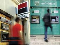 <p>Les valeurs bancaires sont en nette baisse mardi sur les Bourses européennes au lendemain du rejet par les ministres des Finances de la zone euro de l'offre faite ce week-end par le secteur privé concernant sa participation au deuxième plan d'aide à la Grèce. /Photo d'archives/REUTERS</p>