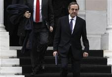 <p>Conservative party leader Antonis Samaras leaves the Greek prime minister's office after a meeting in Athens January 29, 2012. Papademos met leaders of political parties in his coalition on Sunday to persuade them to back painful reforms demanded by the near-bankrupt country's foreign lenders. REUTERS/John Kolesidis</p>