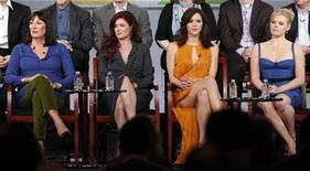"""<p>(L - R) Cast members Anjelica Huston, Debra Messing, Katharine McPhee and Megan Hilty attend the panel for the NBC television series """"Smash"""" at the Television Critics Association winter press tour in Pasadena, California January 6, 2012. REUTERS/Mario Anzuoni</p>"""