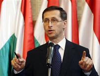 <p>Hungary's State Secretary Mihaly Varga speaks during a news conference about the state of the Hungarian economy in Budapest June 5, 2010. REUTERS/Laszlo Balogh</p>