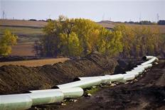 <p>The Keystone Oil Pipeline is pictured under construction in North Dakota in this undated photograph released on January 18, 2012. REUTERS/TransCanada Corporation/Handout</p>