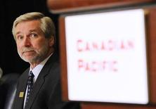 <p>Fred Green, president and CEO of Canadian Pacific Railway, prepares for the company's annual general meeting in Calgary, Alberta, May 12, 2011. REUTERS/Todd Korol</p>