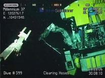<p>One of the remotely operated vehicles (ROV) is seen near the site of the Macondo well in the Gulf of Mexico, in this frame grab captured from a BP live video feed August 30, 2010. REUTERS/BP/Handout</p>