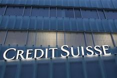 <p>A Credit Suisse logo is seen on a Credit Suisse office building in Guemligen near Bern February 8, 2012. REUTERS/Pascal Lauener</p>