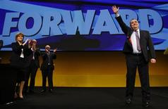 <p>Scotland's First Minister and leader of the Scottish National Party (SNP) leader Alex Salmond waves to supporters after his speech during their annual conference in Inverness, Scotland October 22, 2011. REUTERS/David Moir/Files</p>