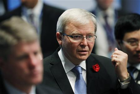 Australia's Foreign Minister Kevin Rudd attends the APEC Disaster Resiliency Meeting in Honolulu, Hawaii in this November 11, 2011 file photo. REUTERS/Yuriko Nakao/Files