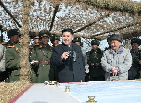 North Korean leader Kim Jong-Un (C) visits a unit under the Command of the Korean People's Army 4th Corps stationed in the southwestern sector of North Korea, in this undated picture released by the North's KCNA in Pyongyang February 26, 2012. KCNA said Kim inspected the 1st and 4th Battalions under the KPA Unit 403 stationed in the forefront area. REUTERS/KCNA