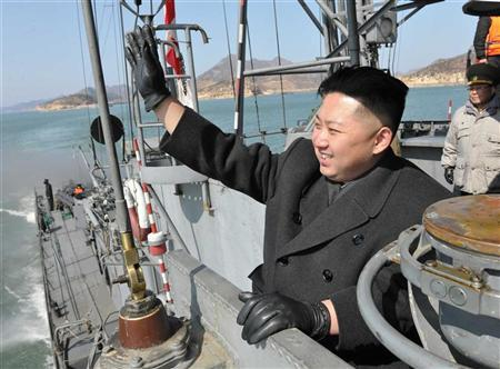 North Korean leader Kim Jong-Un visits the Korean People's Army Navy Unit 123 in an undisclosed location in this undated picture released by the North's KCNA in Pyongyang March 10, 2012. REUTERS/KCNA