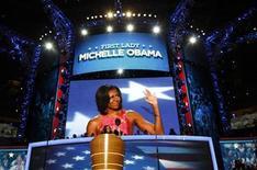 <p>Foto del martes de la primera dama de Estados Unidos, Michelle Obama, durante su discurso en la Convención Nacional Demócrata en Charlotte. Sep 4, 2012. REUTERS/Jim Young</p>