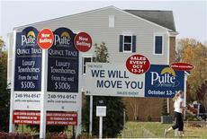 <p>Les ventes de logements neufs aux Etats-Unis ont bondi de 5,7% en septembre, à leur rythme le plus élevé depuis près de deux ans et demi, signalant une accélération de la reprise du marché de l'immobilier. /Photo prise le 23 octobre 2012/REUTERS/Gary Cameron</p>