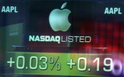 <p>Imagen de archivo del precio de las acciones de Appe en el edificio del mercado Nasdaq en Nueva York, sep 19 2012. Las acciones de Apple Inc descendieron casi un 4 por ciento el miércoles a un mínimo en cinco meses, excediendo las pérdidas post electorales del mercado bursátil de Estados Unidos. REUTERS/Shannon Stapleton</p>