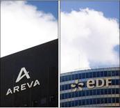 <p>EDF et Areva ont signé un accord de coopération tripartite avec China Guangdong Nuclear Power Corporation Holding (CGNPC) pour la construction d'un réacteur nucléaire. /Photos d'archives/REUTERS</p>