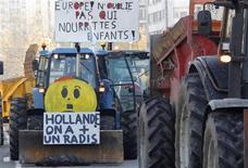 <p>Les agriculteurs du Bas-Rhin manifestent à Strasbourg pour exprimer leur mécontentement à l'égard de plusieurs mesures gouvernementales qui nuisent, selon eux, à leur compétitivité. /Photo prise le 13 novembre 2012/REUTERS/Vincent Kessler</p>