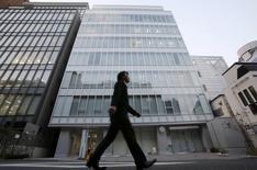 L'immeuble abritant les bureaux de MtGox à Tokyo. Cette plate-forme d'échange de bitcoins, qui a fermé ses portes le mois dernier, s'est placée dimanche sous la protection de la loi américaine sur les faillites, afin de déclencher une suspension temporaire des poursuites en justice dont elle fait l'objet aux Etats-Unis. /Photo prise le 25 février 2014/REUTERS/Toru Hanai
