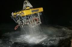 Odyssey's remotely operated vehicle (ROV) Zeus returns to the surface following work on a deep-ocean shipwreck site in this undated handout provided by Odyssey Marine Explorations, Inc April 29, 2014. REUTERS/Odyssey Marine Explorations/Handout via Reuters
