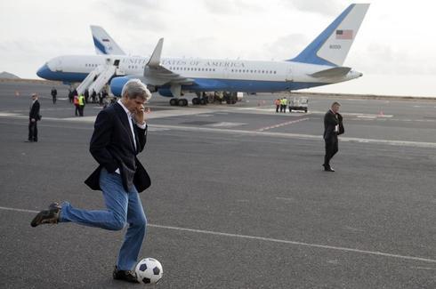 John Kerry playing soccer