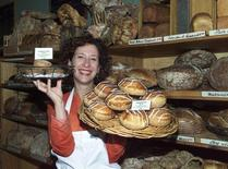 "Pastry chef Nancy Silverton displays some of her baked goods, featured in her new cook book ""Nancy Silverton's Pastries from the La Brea Bakery"" at the La Brea Bakery in Hollywood California on October 17, 2000."