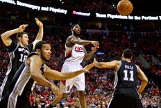 May 12, 2014; Portland, OR, USA; Portland Trail Blazers guard Will Barton (5) passes the ball against the San Antonio Spurs during the fourth quarter in game four of the second round of the 2014 NBA Playoffs at the Moda Center. Mandatory Credit: Craig Mitchelldyer-USA TODAY Sports