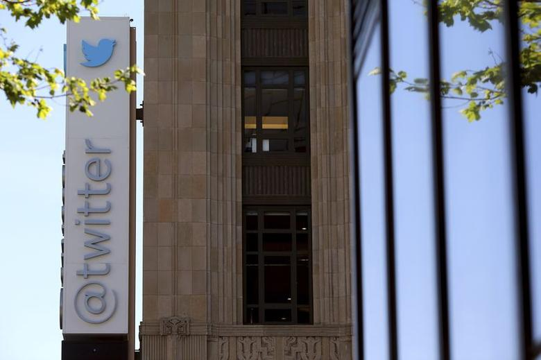 The Twitter logo is pictured at its headquarters on Market Street in San Francisco, California April 29, 2014. REUTERS/Robert Galbraith/Files