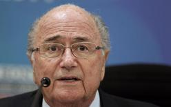 FIFA President Sepp Blatter addresses a news conference in San Jose April 3, 2014. REUTERS/Juan Carlos Ulate
