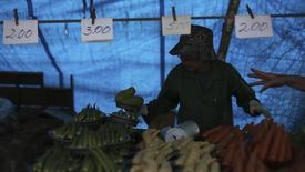 Vendedor de uma barraca de legumes em uma feira livre do bairro de Vila Madalena, na cidade de São Paulo. O Índice Nacional de Preços ao Consumidor Amplo-15 (IPCA-15) desacelerou a alta a 0,58 por cento em maio, em linha com as expectativas e favorecido pelos preços de alimentos e de tarifas aéreas.  9/11/2013. REUTERS/Nacho Doce