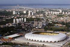 The Arena Amazonia soccer stadium is seen in this aerial view taken two days before its scheduled inauguration, in Manaus, in this file picture taken March 7, 2014.  REUTERS/Bruno Kelly/Files