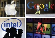 Quatre grands noms de la Silicon Valley, Apple, Google, Intel, Adobe Systems, ont accepté de verser un total de 324,5 millions de dollars (238 millions d'euros) pour régler à l'amiable une action en justice intentée par des salariés de ces entreprises, notamment accusées de s'entendre pour limiter le passage de l'une à l'autre. /Photos d'archives/REUTERS/Robert Galbraith/Arnd Wiegmann/Beawiharta/Dado Ruvic