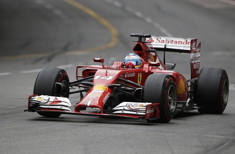 Ferrari Formula One driver Fernando Alonso of Spain drives during the Monaco Grand Prix in Monaco May 25, 2014.        REUTERS/Max Rossi