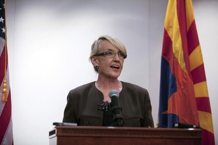 Arizona Governor Jan Brewer makes a statement saying she vetoed the controversial Senate Bill 1062 bill, at Arizona State Capitol in Phoenix February 26, 2014.   REUTERS/Samantha Sais