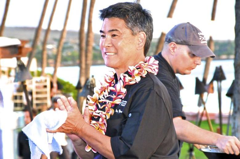 Chef Roy Yamaguchi is seen in a picture courtesy of Ed Morita taken in Maui, Hawaii September 2, 2013. Yamaguchi wants to showcase the modern Hawaiian cuisine he helped pioneer more than 20 years ago and to share the spotlight with the next generation of chefs.  REUTERS/Ed Morita/edmorita@me.com/Handout via Reuters   (UNITED STATES - Tags: PROFILE FOOD SOCIETY) ATTENTION EDITORS - THIS PICTURE WAS PROVIDED BY A THIRD PARTY. REUTERS IS UNABLE TO INDEPENDENTLY VERIFY THE AUTHENTICITY, CONTENT, LOCATION OR DATE OF THIS IMAGE. FOR EDITORIAL USE ONLY. NOT FOR SALE FOR MARKETING OR ADVERTISING CAMPAIGNS. NO SALES. NO ARCHIVES. THIS PICTURE IS DISTRIBUTED EXACTLY AS RECEIVED BY REUTERS, AS A SERVICE TO CLIENTS