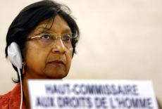 Alta comissária para Direitos Humanos da ONU, Navi Pillay, durante encontro do Conselho de Direitos Humanos da ONU, em Genebra. 10/06/2014. REUTERS/Denis Balibouse