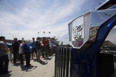 """The Autobots logo of the """"Autobot Optimus Prime"""" truck from the movie """"Transformers: Age of Extinction"""" is pictured during a pick-up in Los Angeles, California June 21, 2014. REUTERS/Mario Anzuoni"""