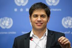 """Minister of Economy of Argentina, Axel Kicillof speaks to members of the media after speaking at a meeting of the G77 entitled """"Sovereign Debt Restructuring: The Case of Argentina"""" at United Nations headquarters in New York June 25, 2014.  REUTERS/Lucas Jackson"""