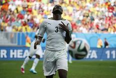 Jogador de Gana Asamoah Gyan em partida contra Portugal, em Brasília. 26/6/2014 REUTERS/Jorge Silva
