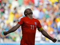 Arjen Robben of the Netherlands celebrates after winning their 2014 World Cup round of 16 game against Mexico at the Castelao arena in Fortaleza June 29, 2014. REUTERS/Dominic Ebenbichler