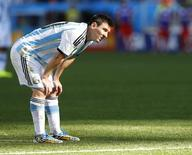 Jogador argentino Lionel Messi durante partida contra Suíça, depois de defesa de goleiro Diego Benaglio na Arena Corinthians, em São Paulo.  1/7/2014. REUTERS/Ivan Alvarado